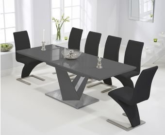 Harmony 160cm Extending Dark Grey High Gloss Dining Table with Hampstead Z Chairs