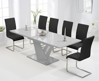 Harmony 160cm Extending Light Grey High Gloss Dining Table with Malaga Chairs