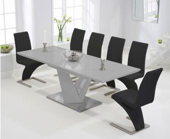 Harmony 160cm Extending Light Grey High Gloss Dining Table with Hampstead Z Chairs