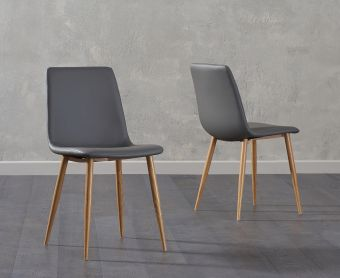 Hamburg Grey Faux Leather Wooden Leg Dining Chairs