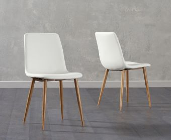 Hamburg White Faux Leather Wooden Leg Dining Chairs (Pairs)