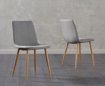 Hamburg Grey Fabric Wooden Leg Dining Chairs