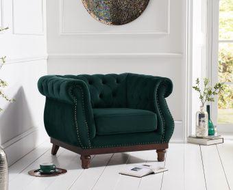 Henbury Chesterfield Green Plush Velvet Armchair