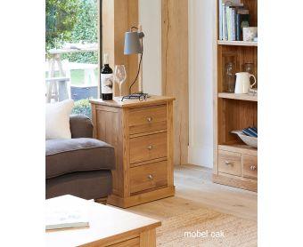 Mobel Solid Oak Three Drawer Side Table