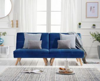 Ivy 3 Seater Sofa Bed in Blue Velvet