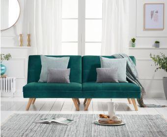 Ivy 3 Seater Sofa Bed in Green Velvet
