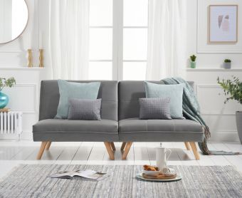 Ivy 3 Seater Sofa Bed in Grey Velvet
