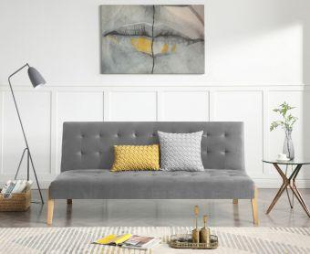 Jeri Grey Velvet Sofa Bed
