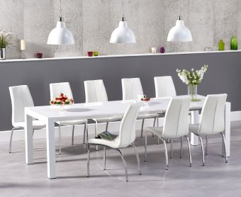 Jacobi Extending White High Gloss Table with Cavello Chairs