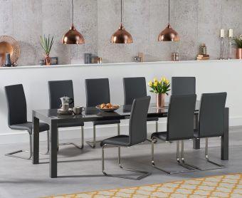 Jacobi Extending Dark Grey High Gloss Table with Malaga Chairs