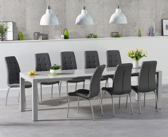 Jacobi Extending Light Grey High Gloss Table with Calgary Chairs
