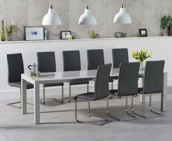 Jacobi Extending Light Grey High Gloss Table with Malaga Chairs