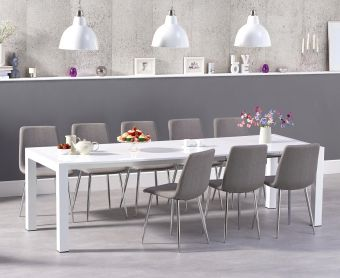 Jacobi Extending White High Gloss Table with Hamburg Fabric Chrome Leg Chairs