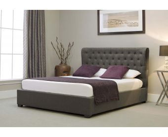 Kensington Wing Grey Fabric Ottoman King Size Bed