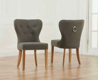 Knightsbridge Studded Grey Fabric Oak Leg Dining Chairs (Pairs)