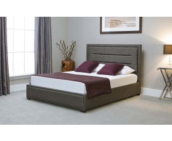 Kettner Grey Fabric Ottoman King Size Bed