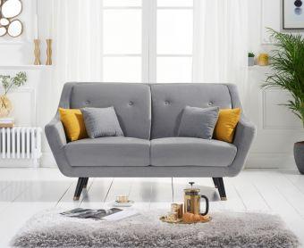 Lance 2 Seater Sofa in Grey Velvet