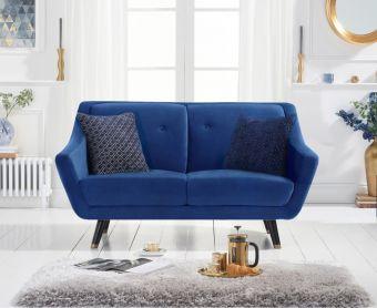 Lance 2 Seater Sofa in Blue Velvet