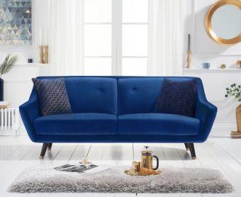 Lance 3 Seater Sofa in Blue Velvet