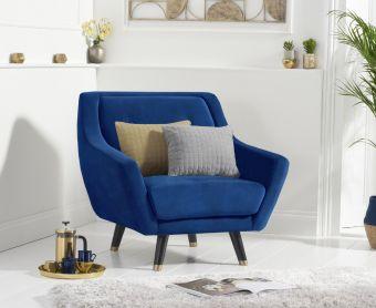Lance Armchair in Blue Velvet