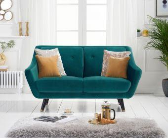 Lance 2 Seater Sofa in Green Velvet