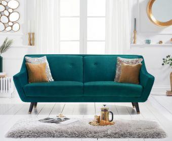 Lance 3 Seater Sofa in Green Velvet
