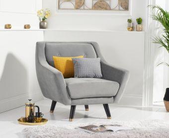 Lance Armchair in Grey Velvet