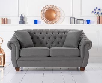 Lacey Chesterfield Grey Fabric Two-Seater Sofa