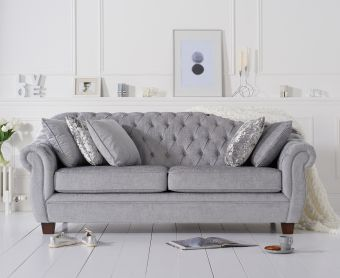 Lacey Chesterfield Grey Plush Fabric Three-Seater Sofa