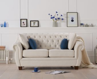 Lacey Chesterfield Ivory Linen Fabric Two-Seater Sofa