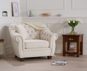 Lacey Chesterfield Ivory Fabric Armchair