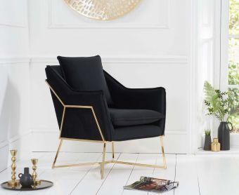 Lillia Black Velvet Accent Chair