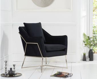 Lillia Black Velvet Accent Chair with Chrome Legs