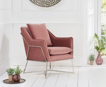 Lillia Blush Velvet Accent Chair with Chrome Legs