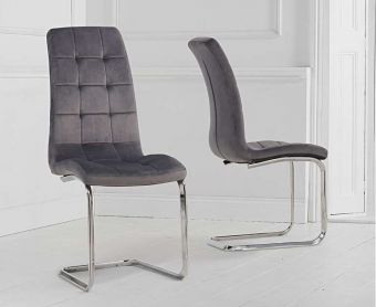 Lorin Grey Velvet Dining Chairs