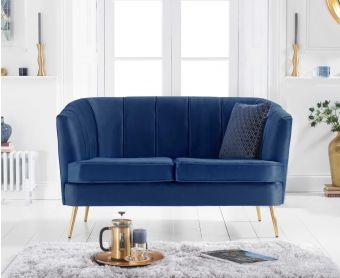 Lucern Blue Velvet 2 Seater Sofa