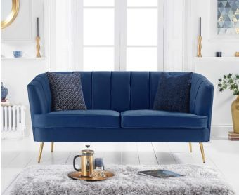 Lucern Blue Velvet 3 Seater Sofa