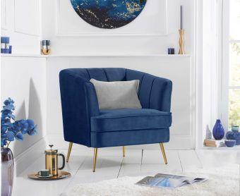 Lucern Blue Velvet Armchair