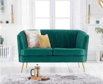 Lucern Green Velvet 2 Seater Sofa