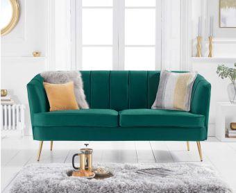 Lucern Green Velvet 3 Seater Sofa