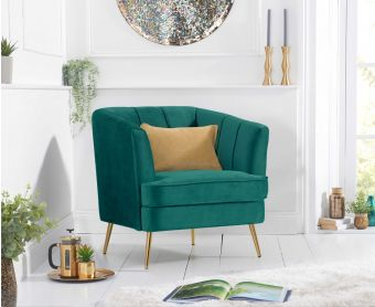 Lucern Green Velvet Armchair