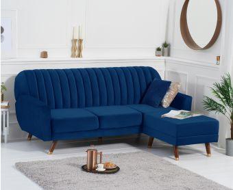 Luciana Reversible Sofa Bed in Blue Velvet