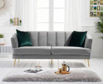 Lulu 3 Seater Sofa in Grey Velvet
