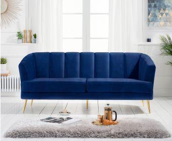 Lulu 3 Seater Sofa in Blue Velvet