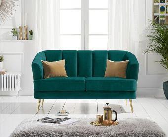 Lulu 2 Seater Sofa in Green Velvet