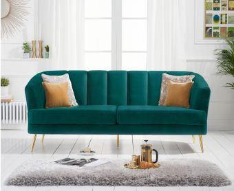 Lulu 3 Seater Sofa in Green Velvet