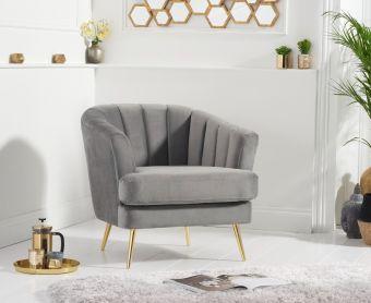 Lulu Armchair in Grey Velvet
