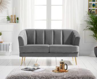Lulu 2 Seater Sofa in Grey Velvet