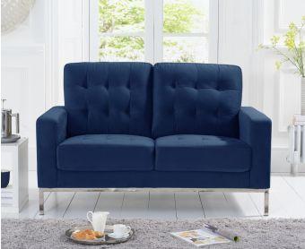 Larma Blue Velvet 2 Seater Sofa