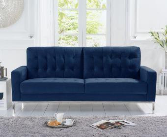 Larma Blue Velvet 3 Seater Sofa